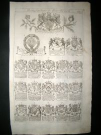 Richard Blome 1686 Folio Antique Print. Heraldry 1